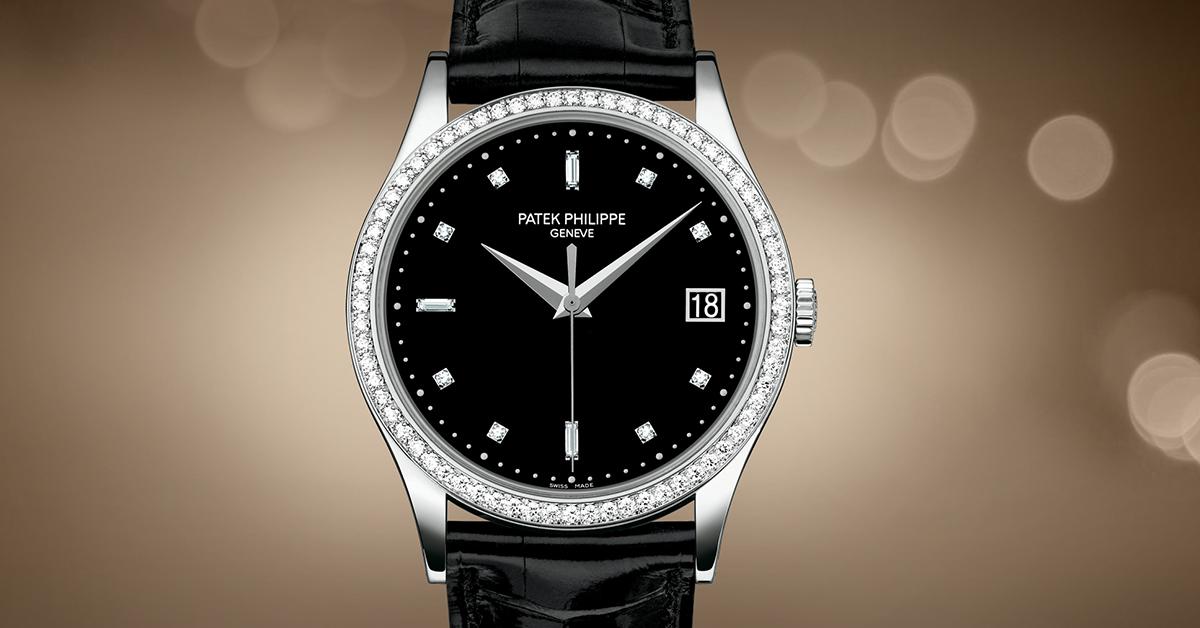 6ba24b68ef9 Patek Philippe   Calatrava Black Dial Date Diamond Watch 5297G-001
